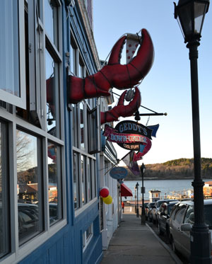 Geddy's Restaurant on Main St. with view of Bar Island, Bar Harbor, Maine