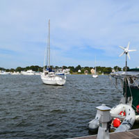 View of Merrimack River from downtown Newburyport boardwalk, Massachusetts